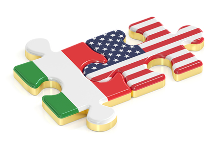 Italy and USA puzzles from flags, 3D rendering Stock Photo