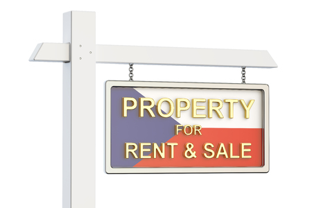 home buyer: Property for sale and rent in Czech Republic concept. Real Estate Sign, 3D rendering isolated on white background