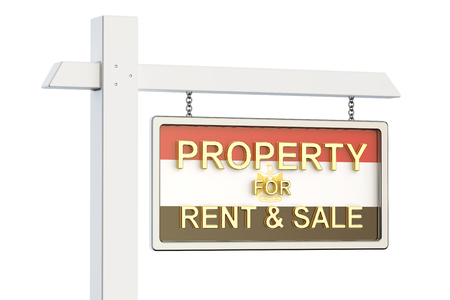 property for sale: Property for sale and rent in Egypt concept. Real Estate Sign, 3D rendering isolated on white background