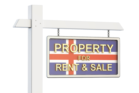 property for sale: Property for sale and rent in Iceland concept. Real Estate Sign, 3D rendering isolated on white background Stock Photo
