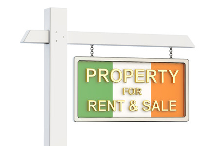 property for sale: Property for sale and rent in Ireland concept. Real Estate Sign, 3D rendering isolated on white background