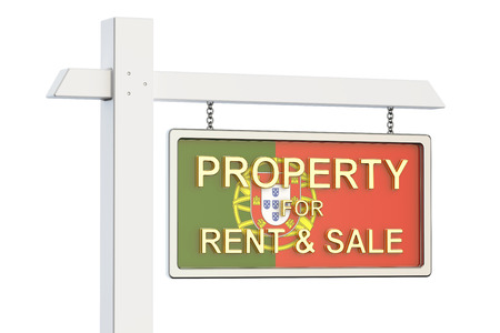 buy sell: Property for sale and rent in Portugal concept. Real Estate Sign, 3D rendering isolated on white background