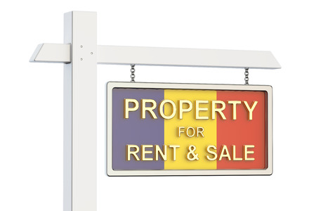 property for sale: Property for sale and rent in Romania concept. Real Estate Sign, 3D rendering isolated on white background