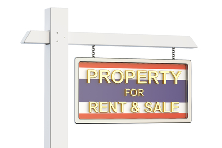 property for sale: Property for sale and rent in Thailand concept. Real Estate Sign, 3D rendering isolated on white background