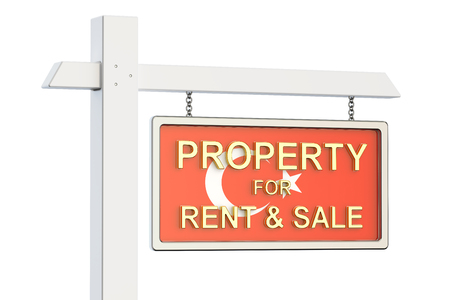 property for sale: Property for sale and rent in Turkey concept. Real Estate Sign, 3D rendering isolated on white background