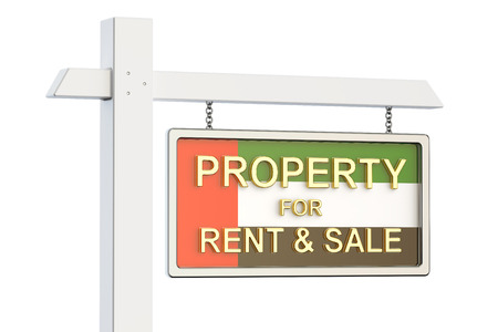 property for sale: Property for sale and rent in UAE concept. Real Estate Sign, 3D rendering isolated on white background