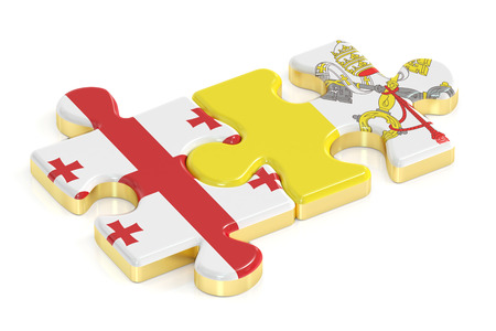 Vatican and Georgia puzzles from flags, 3D rendering Stock Photo