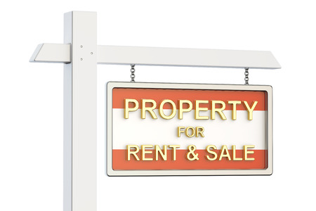 property for sale: Property for sale and rent in Austria concept. Real Estate Sign, 3D rendering isolated on white background
