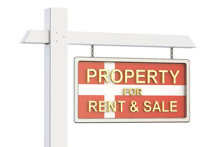 property for sale: Property for sale and rent in Denmark concept. Real Estate Sign, 3D rendering isolated on white background