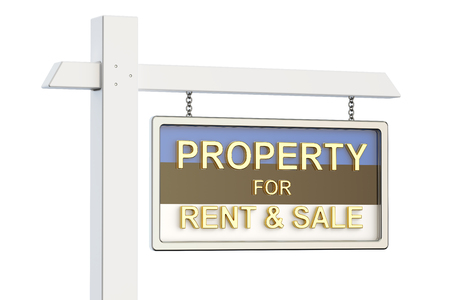property for sale: Property for sale and rent in Estonia concept. Real Estate Sign, 3D rendering isolated on white background