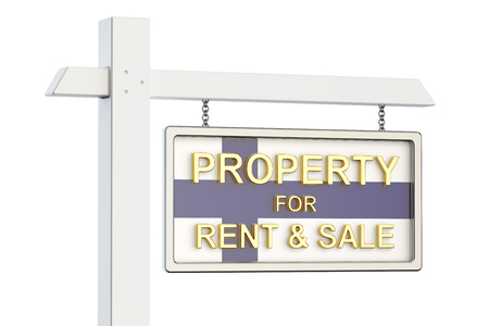 property for sale: Property for sale and rent in Finland concept. Real Estate Sign, 3D rendering isolated on white background