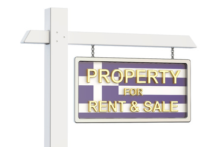 property for sale: Property for sale and rent in Greece concept. Real Estate Sign, 3D rendering isolated on white background Stock Photo