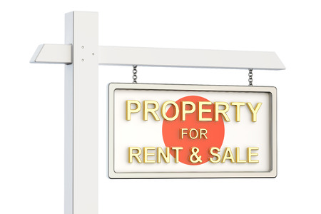 property for sale: Property for sale and rent in Japan concept. Real Estate Sign, 3D rendering isolated on white background Stock Photo