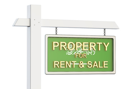 home buyer: Property for sale and rent in Saudi Arabia concept. Real Estate Sign, 3D rendering isolated on white background Stock Photo
