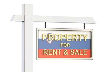 property for sale: Property for sale and rent in Slovenia concept. Real Estate Sign, 3D rendering isolated on white background Stock Photo