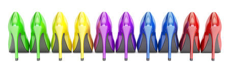row from color high heel shoes, 3D rendering isolated on white background