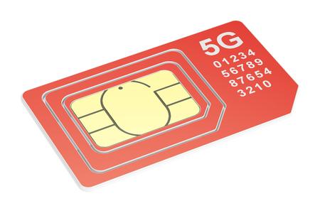 5G sim card mini, micro, nano. 3D rendering isolated on white background Stock Photo