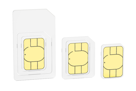 micro: Mini, micro, nano sim cards, 3D rendering isolated on white background