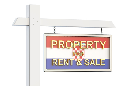 property for sale: Property for sale and rent in Croatia concept. Real Estate Sign, 3D rendering isolated on white background