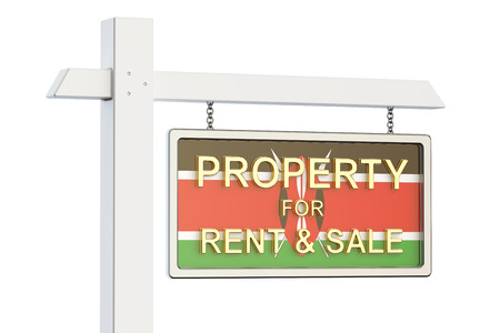 property for sale: Property for sale and rent in Kenya concept. Real Estate Sign, 3D rendering isolated on white background