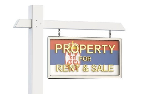 property for sale: Property for sale and rent in Serbia concept. Real Estate Sign, 3D rendering isolated on white background