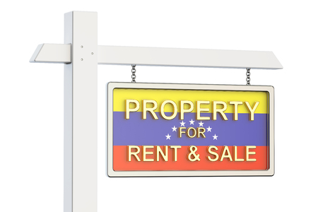 property for sale: Property for sale and rent in Venezuela concept. Real Estate Sign, 3D rendering isolated on white background Stock Photo