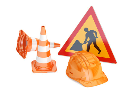 Traffic cones, hardhat and road sign. Under construction concept, 3D rendering isolated on white background