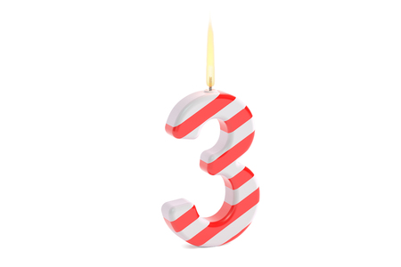 third birthday: Birthday candle, number 3. 3D rendering isolated on white background