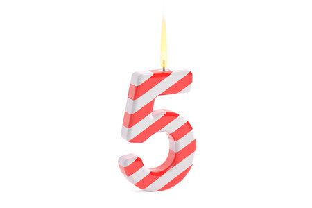 Birthday candle with number 5, 3D rendering isolated on white background