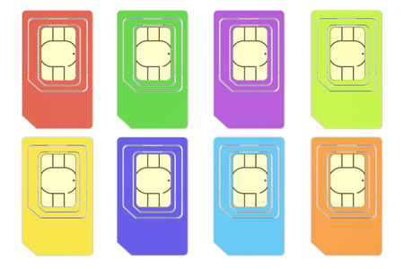 Set of colored SIM cards, 3D rendering isolated on white background Stock Photo