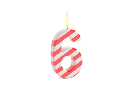 sixth birthday: Birthday candle with number 6, 3D rendering isolated on white background