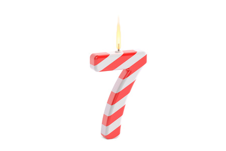 Birthday candle with number 7, 3D rendering isolated on white background