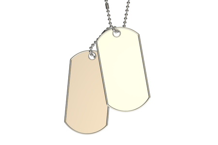blank metallic identification plate: dog tags, 3D rendering isolated on white background