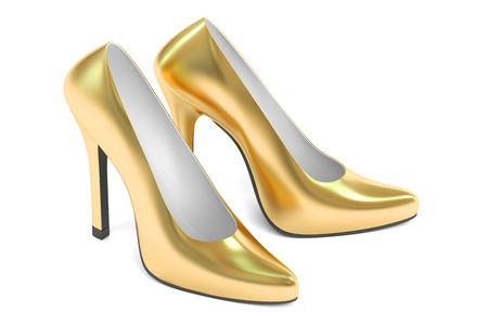 calcanhares: golden high heel shoes, 3D rendering isolated on white background