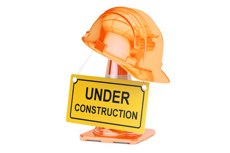 roadsign: Under construction concept. Traffic cones, hardhat and roadsign closeup. 3D rendering