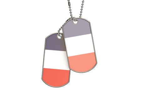French Dog Tags, 3D rendering isolated on white background Stock Photo