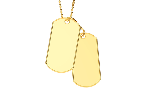 blank metallic identification plate: golden dog tags, 3D rendering isolated on white background