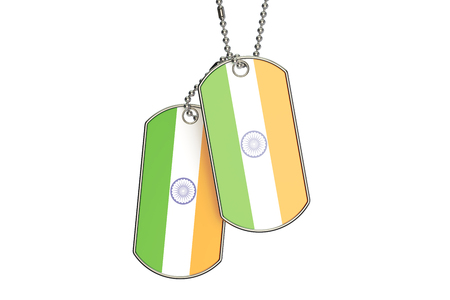 Indian Dog Tags, 3D rendering isolated on white background