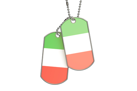 Italian Dog Tags, 3D rendering isolated on white background