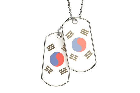 South Korea Dog Tags, 3D rendering isolated on white background Stock Photo