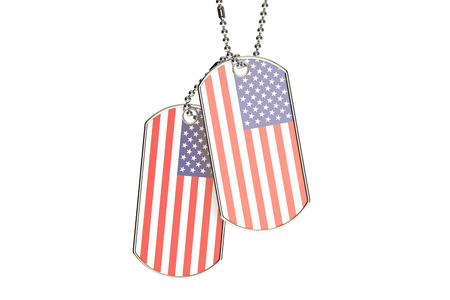 American Dog Tags, 3D rendering isolated on white background