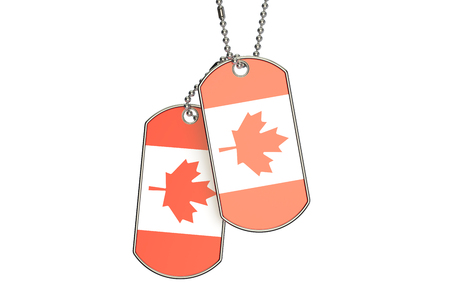 Canadian Dog Tags, 3D rendering isolated on white background Stock Photo