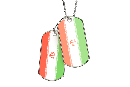 iranian: Iranian Dog Tags, 3D rendering isolated on white background