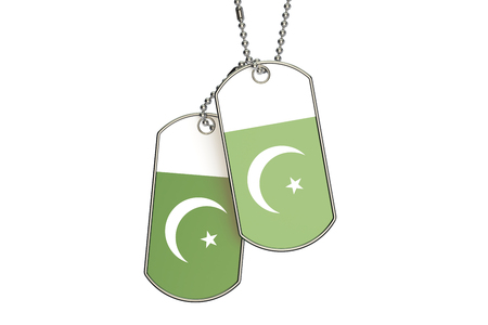 flag of pakistan: Pakistani Dog Tags, 3D rendering isolated on white background Stock Photo