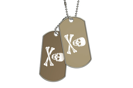 Pirate Dog Tags, 3D rendering isolated on white background