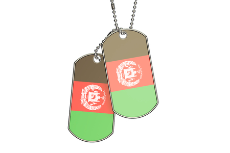 Afghanistan Dog Tags, 3D rendering isolated on white background