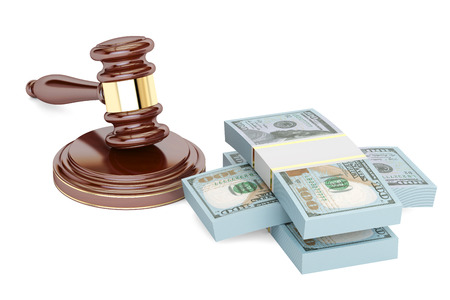 gavel and dollars, law and money concept. 3D rendering isolated on white background Stock Photo