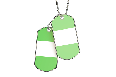 Nigeria Dog Tags, 3D rendering isolated on white background