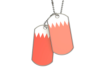 Bahrain Dog Tags, 3D rendering isolated on white background