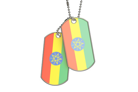 Ethiopian Dog Tags, 3D rendering isolated on white background Stock Photo